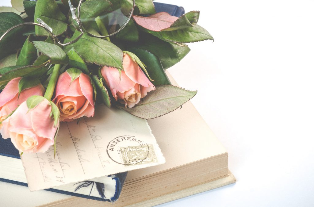 pink rose flowers on top of books 2008142 1