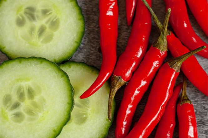 Fresh Cucumber and Red Chillies